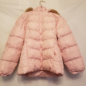 Arizona Pink Puffer Jacket With Faux Fur Gold Star